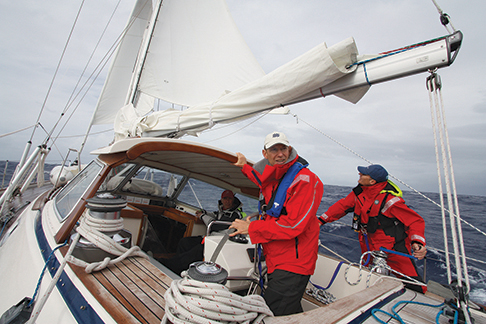 Sailing with the reefed main and storm trysail
