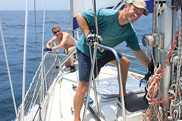 Day 4, poled out Genoa, Bill on the foredeck, Markus at the mast