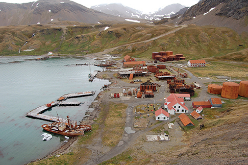 Kiwi Roa docked at Grytviken. Most buildings are from the old base; the maintained ones are used by KEP staff.