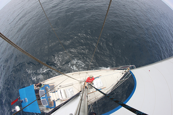 Scanning the horizon from the mast top revealed a fascinating, fluid seascape