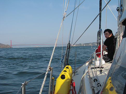 Alex at the bow with the Golden Gate bridge ahead