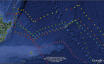 Figure 3. Waypoints shown on Google Earth made from a text list of 3-hour positions converted to a GPX file. After crossing the scoring gate headed south, the red line shows the great circle route to the next mark at Cape Horn. Ericsson 3 is marked with yellow squares. At the first red dot they were still in last place, by the second red dot they were first, and by the 3rd red dot they were more than one day in the lead.
