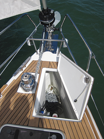 Note the divided chain locker on the Jeanneau 509