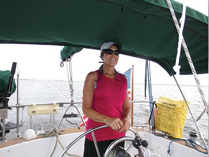 Jill enjoying the bimini on our first run down the Indian River