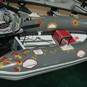 1. Acrylic paint may help ease abrasions, but it also helps owners identify a dinghy and shields it from harmful UV rays.
