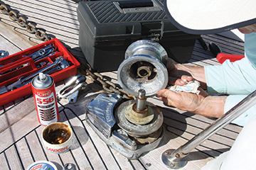 Servicing the anchor windlass