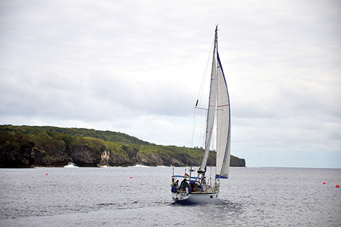 Namani sailing along the coast of Niue