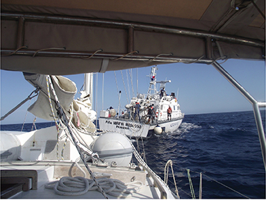 Accepting a two from the Panamanian Coast Guard/Navy patrol