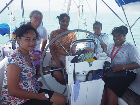 Immigration, health, customs and police came aboard for the formal clearing in process. The all-women team were friendly and efficient for Astarte's official checking in to Kiribati