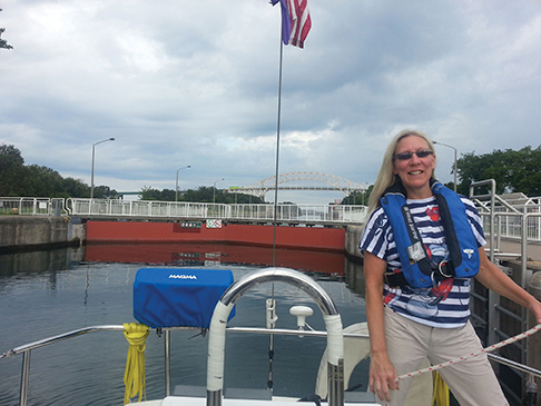 Cindy at the Canadian lock