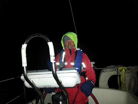 The author, helming at night
