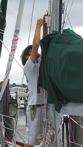 Richard installs new clutch for code zero  code zero hanging behind him