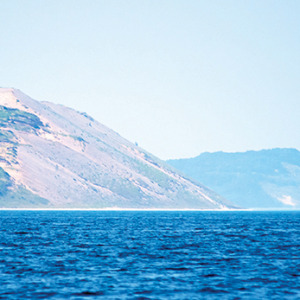 View of Sleeping Bear Dunes from the entrane to the Manitou Passage, previous passage