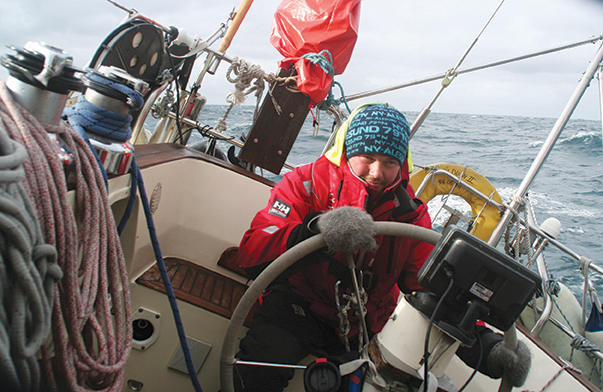 Oyvind at the helm