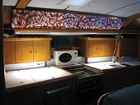 The galley with new strip lights