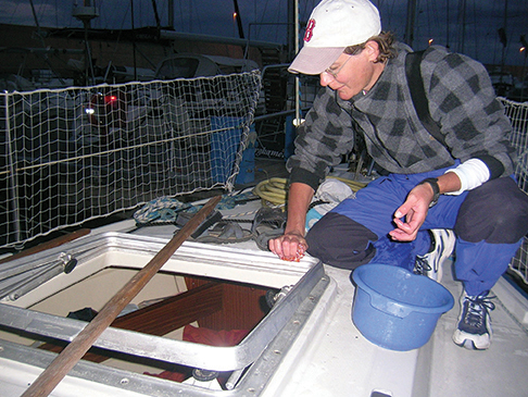 Rebedding a hatch in Sardinia
