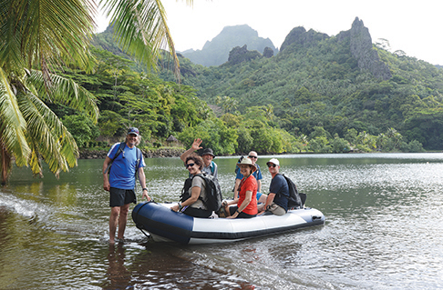 Picking up crew after they've hiked across Moorea