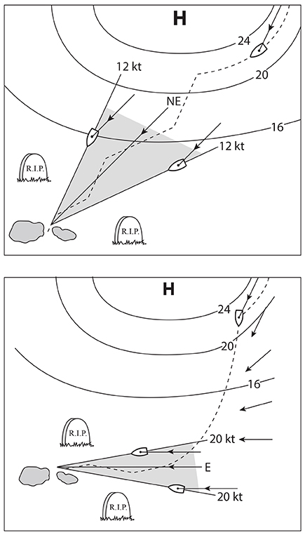 Selecting waypoints and approach cone from forecasted winds. Adapted from Modern Marine Weather (Starpath Publications)