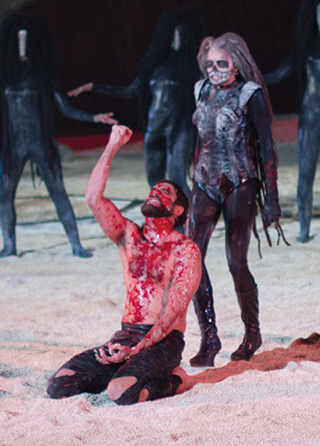 Blinded Oedipus pursued by Nemesis at Syracuse's Festival of Ancient Greek drama