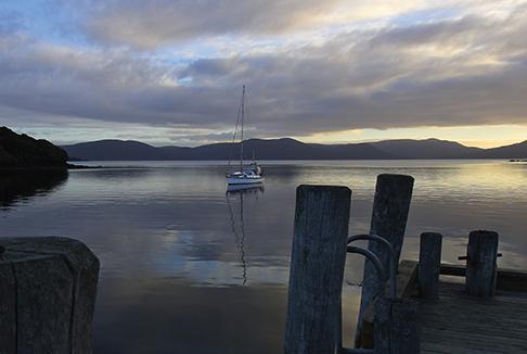 Golden Bay anchorage at Paterson Inlet on Stewart Island