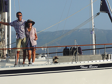 Ben & Eliza onboard their Nauticat 43, Three Rivers