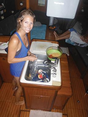 Sarah cooking down below