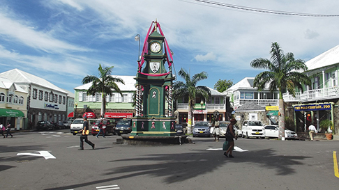 The clock is the feature item in the square in St. Kitts.