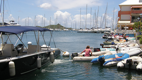 The marina in St Martin is popular with cruisers