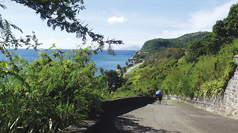Walking down the road from Oranjastad in St. Eustatia.