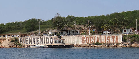 For years this sign has greeted cruisers and tankers navigating the estrecho.