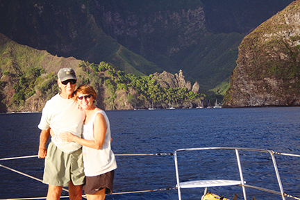 Ron and I after 18 days crossing from the Galapagos to the Marquesas, Fata Hiva