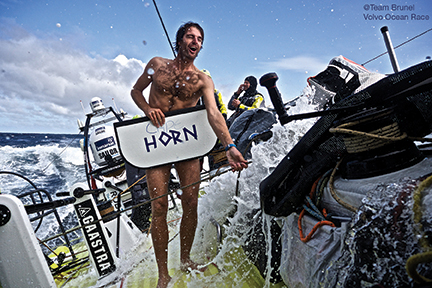 March 31, 2015. Leg 5 to Itajai onboard Team Brunel. Day 13. OBR Stefan Coppers in a brave moment following the traditions and welcoming the Horn naked on deck.