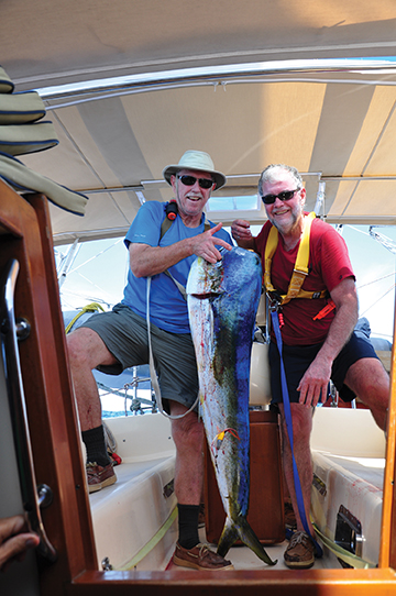 Mahi mahi, with crew Claude Bilodeau and the author