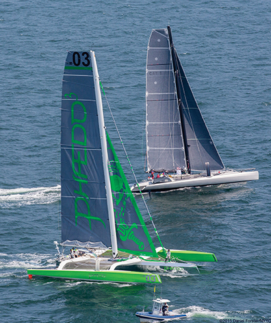 At the start of the Transatlantic Race, Phaedo3 and Paradox