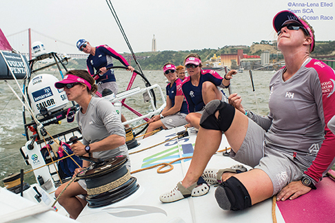 June 7, 2015. Leg 8 to Lorient onboard Team SCA.  Annie Lush and crew.