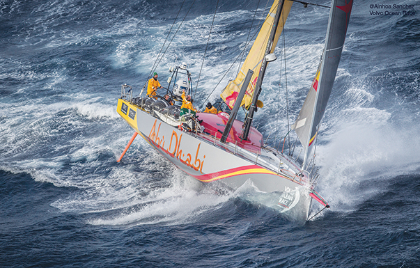 June 09, 2015. Abu Dhabi Ocean Racing passing by Costa da Morte - Coast of Death - in Spanish waters during Leg 8 to Lorient.
