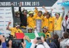 June 22, 2015. Abu Dhabi Ocean Racing celebrate after they arrival in Gothenburg as the winners of the 2014-15 edition of the Volvo Ocean Race.