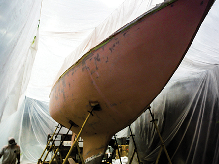Celeste covered in fairing compound after GRP and Kevlar layers