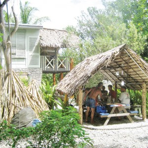 Open air dining room at Bruno's guest house on Fanning Atoll