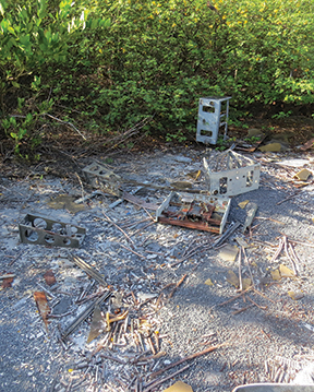 Old computer parts from a fallen radio tower, courtesy Hurricane Mitch