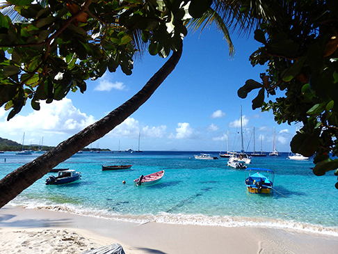 Quiet harbor in Mustique