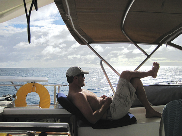Brian enjoying the infinite view of Minerva Reef