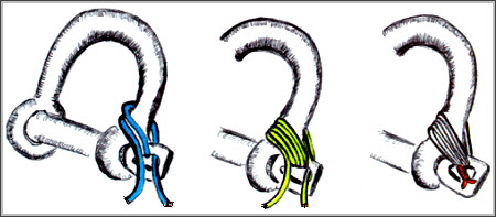 "Use the more permanent technique of ""mousing"" to seize the shackle-pin to a galvanized shackle. Replace the seizing at the end of each sailing season. Before you do, clean and lubricate the shackle channels and screw-pin threads to remove rust or corrosion."