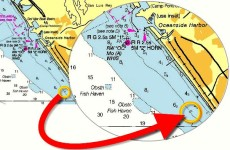 "Look for depth curves that run almost parallel to the coast. Aim for a point to the right or left of the objective. Here, our objective will be lighted whistle buoy ""OC"" at the entrance to Oceanside Harbor. We will use a deliberate ""offset"" to the right and aim for the 6 fathom depth curve (chart shows soundings in fathoms and fathoms and feet). When our depth sounder reads 6 fathoms, we will turn northwest to follow the 6 fathom depth curve to the buoy. See steps below."