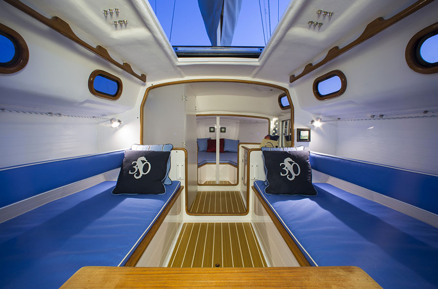 Interiors onboard S&S30 in Newport, RI.