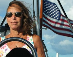 Pam at helm Bermuda