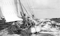 PICTURES OF YESTERYEAR - MANAGED BY PPL PHOTO AGENCY - COPYRIGHT RESERVED PHOTO CREDIT: Bill Rowntree/PPL TEL: +44 (0) 1243 555561  E-mail: ppl@mistral.co.uk   Web: www.pplmedia.com *** Circa 22nd April 1969: Robin Knox-Johnston waving aboard his 32ft yacht SUHAILI off Falmouth, England after becoming the first man to sail solo non-stop around the globe. Knox-Johnston was the sole finisher in the Sunday Times Golden Globe solo round the world race, having set out from Falmouth, England on 14th June 1968 aboard his tiny 32ft ketch Suhaili. It was a time when the Flat Earth Society was still in existence, and even seasoned yachtsman thought it to be an impossible feat. For everyone else it was; Robin was the sole finisher among 9 starters to complete this 30,000 mile supreme endurance race, organised by the Sunday Times newspaper.