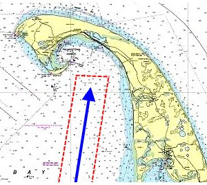 "On a 1:80,000 scale coastal chart, use two or more nautical miles to form a ""scan box"" around the intended sailing track. Here, as we approach Provincetown on Cape Cod Bay, our sailing track (blue) has been surrounded by a lighter box (red) two miles wide on each side. Highlight dangers inside this area. See steps below."