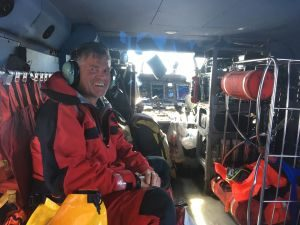 Austrian boater Wolfgang Sloma, 56, at Coast Guard Air Station Boriquen in Puerto Rico, after he was rescued Sunday by the crew of a Coast Guard HH-60 Jayhawk helicopter from a life raft in the Atlantic Ocean, approximately 120 nautical miles northeast of San Juan, Puerto Rico. Sloma was reportedly transiting by himself aboard the 27-foot Austrian-flagged sailing vessel Daphni, when he was forced to deploy and board the vessel's life raft after the Daphni's mast partially broke and a hole in the hull caused the vessel to take on water and sink.