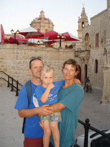 The author and family enjoy a night out in the historic towm of Mdina